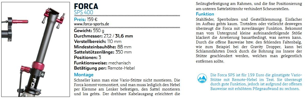 WOM09 2013 - FORCA SPS 400 Vario Sattelstütze jetzt im Test