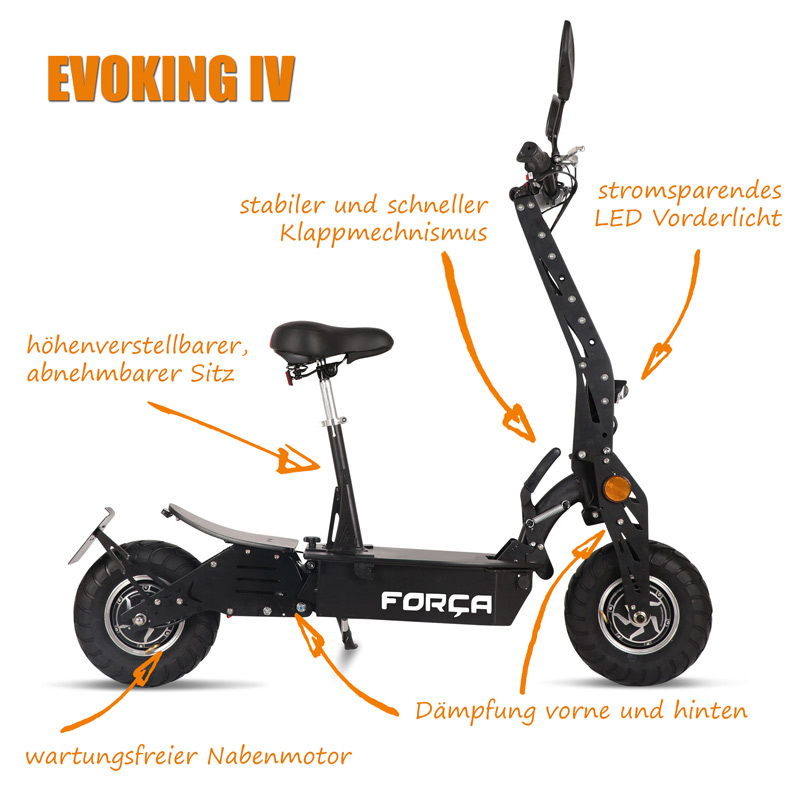 EVOKING IV ElektroRoller E Scooter Spezifikationen Test Specs - Evoking IV